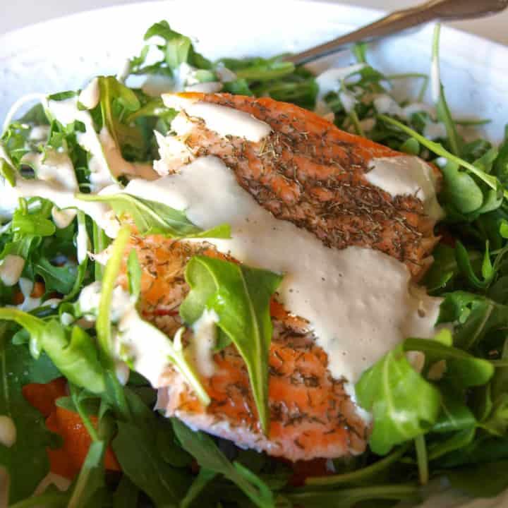 Lemon Sesame Drizzle On Salmon Salad   Mae's Menu
