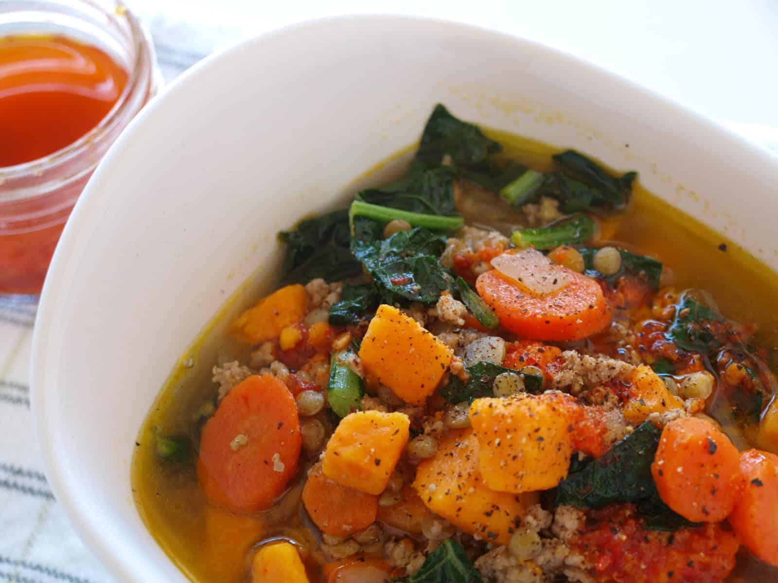 Moroccan Sweet Potato & Lentil Soup With lemon Harissa Drizzle   Mae's Menu