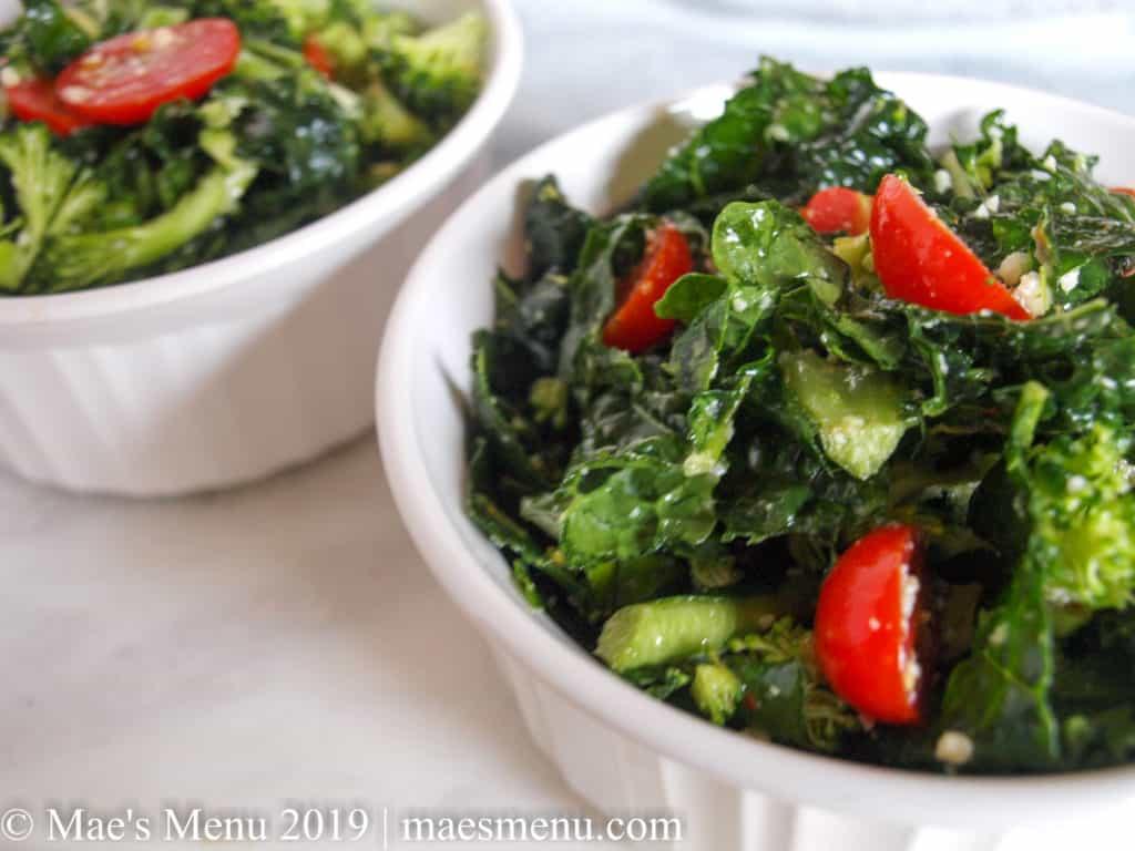 Broccoli & Kale Salad with Lemon Parmesan Dressing | Mae's Menu