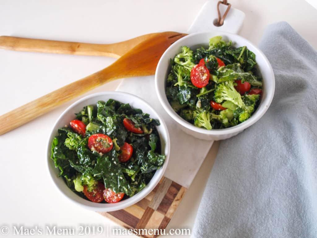 Broccoli & Kale Salad With Lemon Parmesan Dressing   Mae's Menu