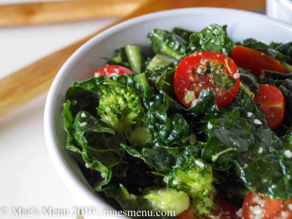 Broccoli & Kale Salad With Spicy Lemon Parmesan Dressing | Mae's Menu