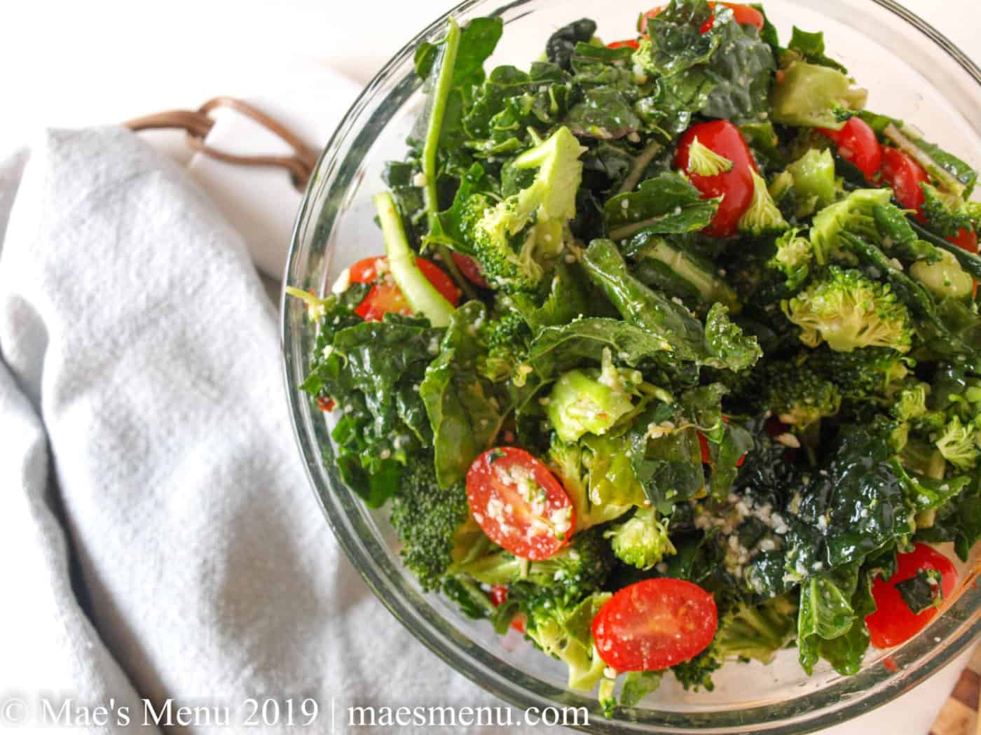Broccoli & Kale Salad With Spicy Lemon Parmesan Dressing | Mae's Menu