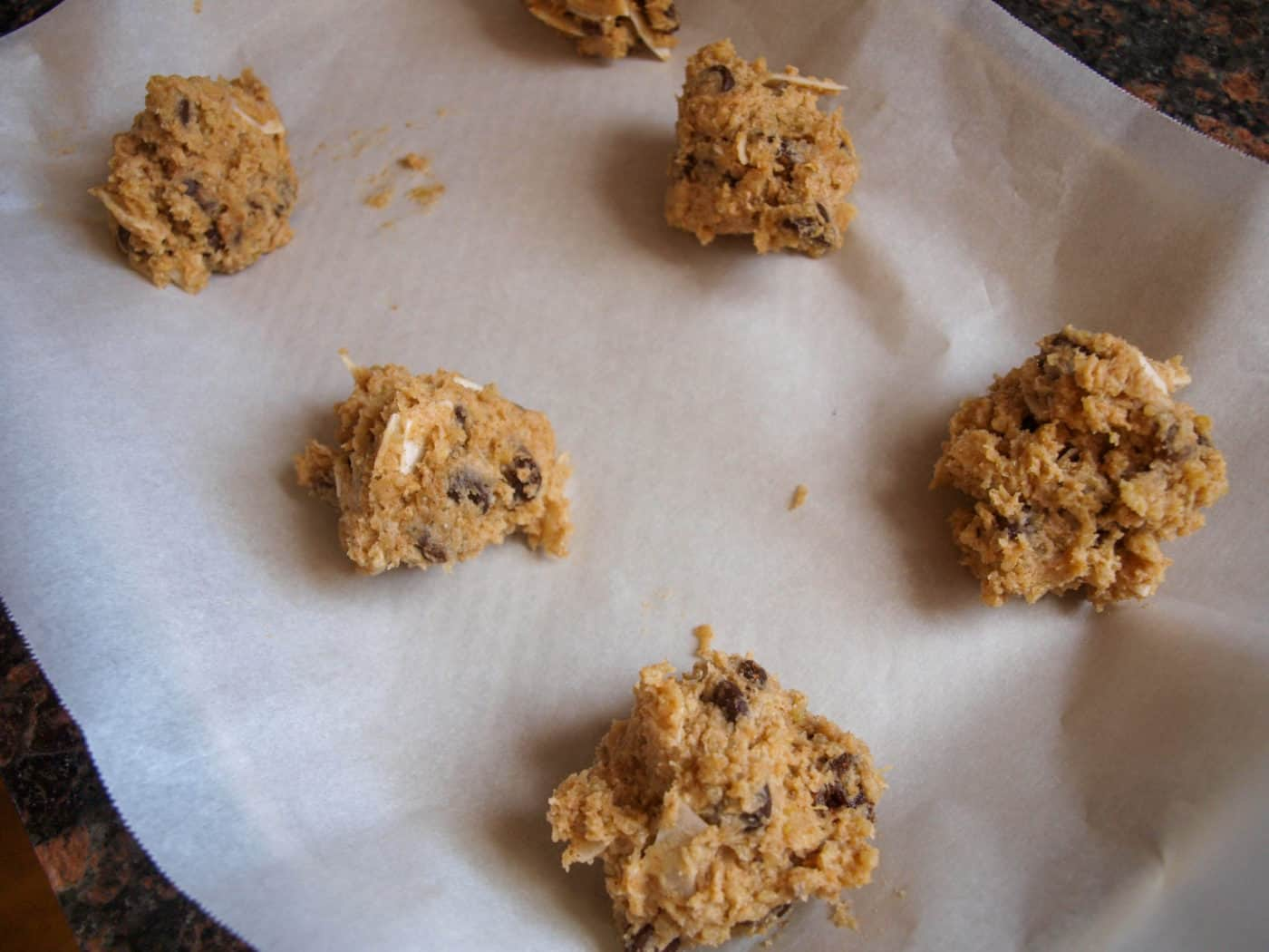 Scooping Quinoa Chocolate Chip Cookies Onto The Sheet   Mae's Menu