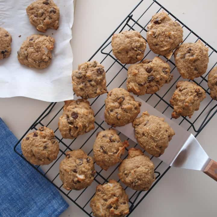 Coconut Quinoa Chocolate Chip Cookies Cool on wire baking rack.