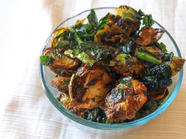 Maple Lime Fried Brussels Sprouts & Kale