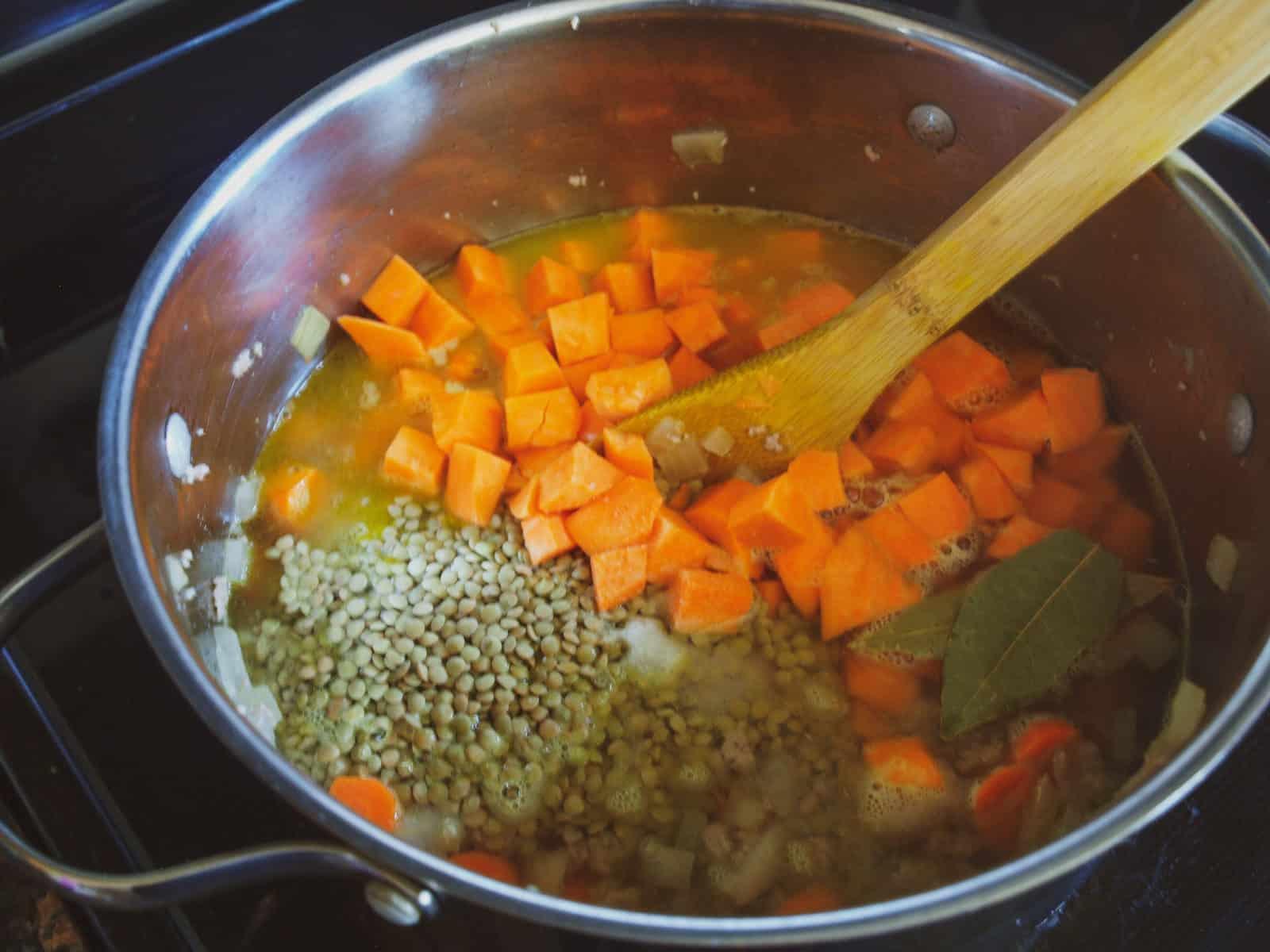 A large pot of Moroccan Sweet Potato & Lentil Soup.