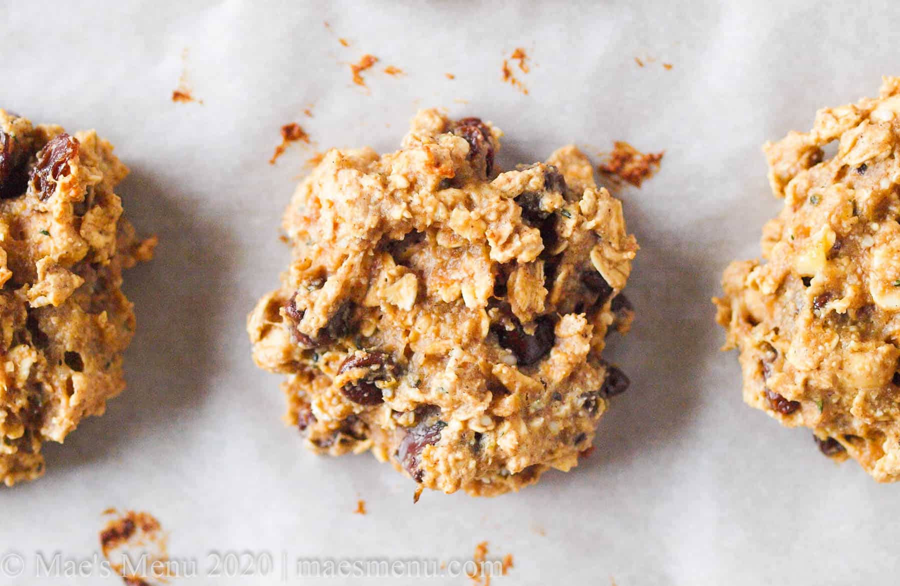 Up-close shot of oat protein breakfast cookies