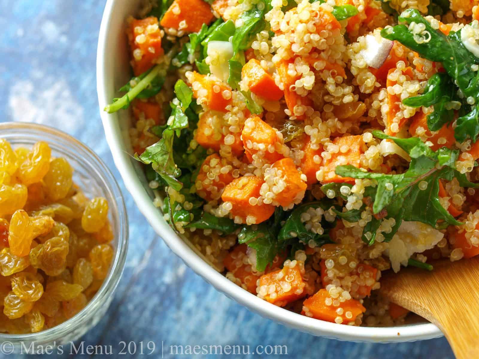 A large bowl of sweet potato & quinoa salad.