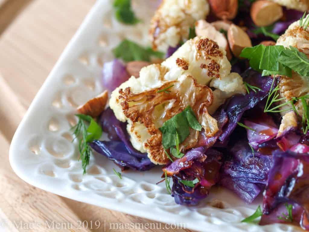 Platter of Roasted Cauliflower & cabbage salad.