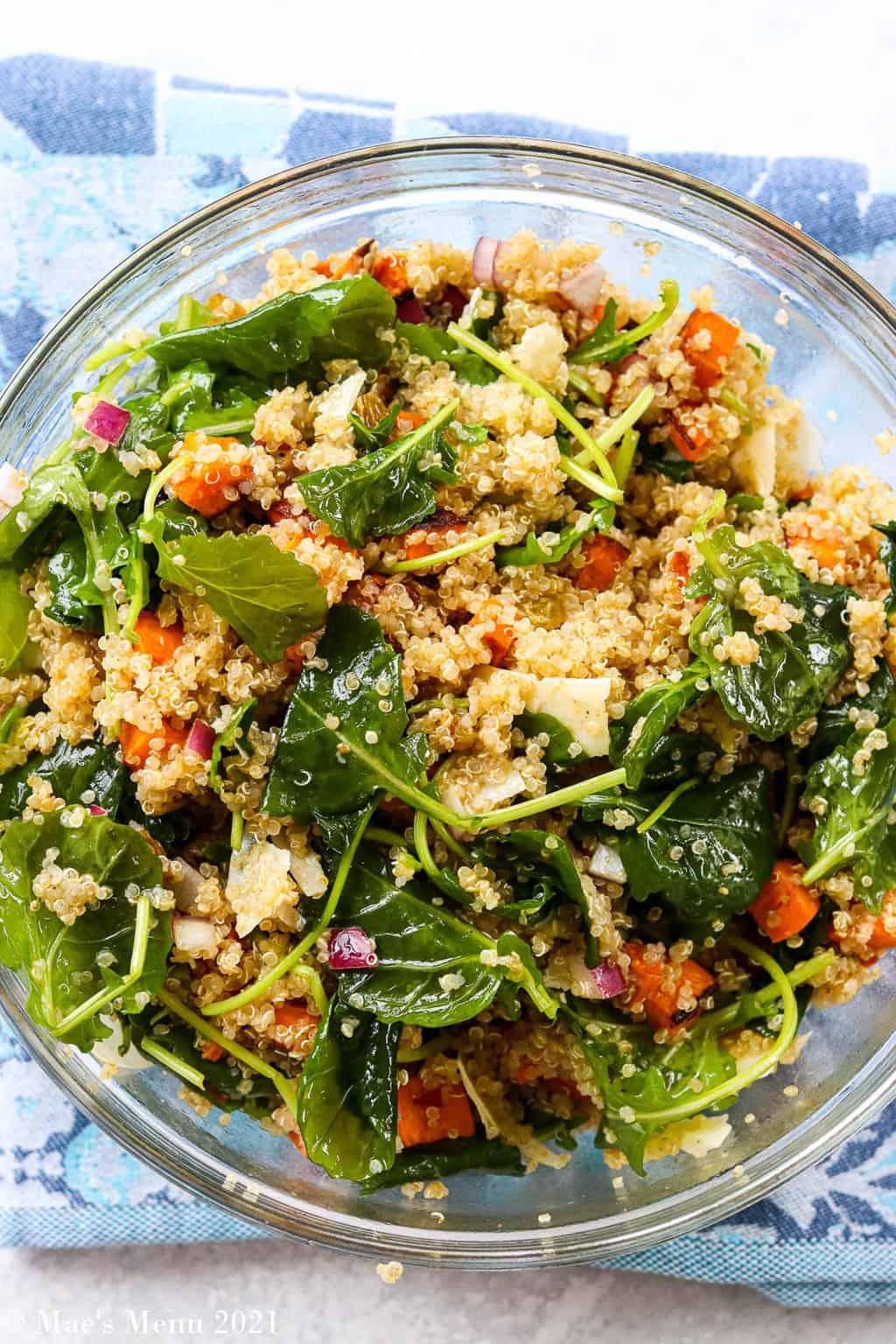 An overhead shot of a bowl of quinoa salad
