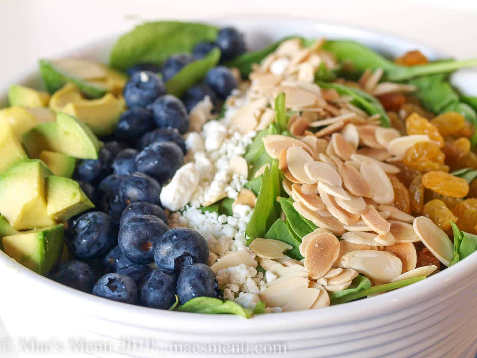Up-close shot of Blueberry & Avocado Spinach Salad.