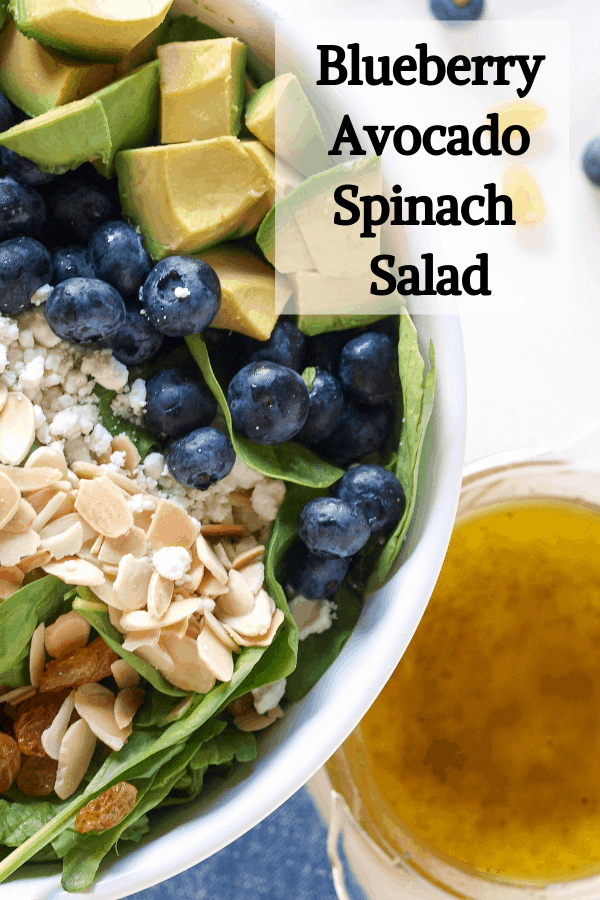 Pinterest Pin for blueberry avocado spinach salad.