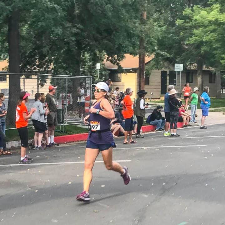 Chelsea Plummer of Mae's Menu finishing a 5K race.