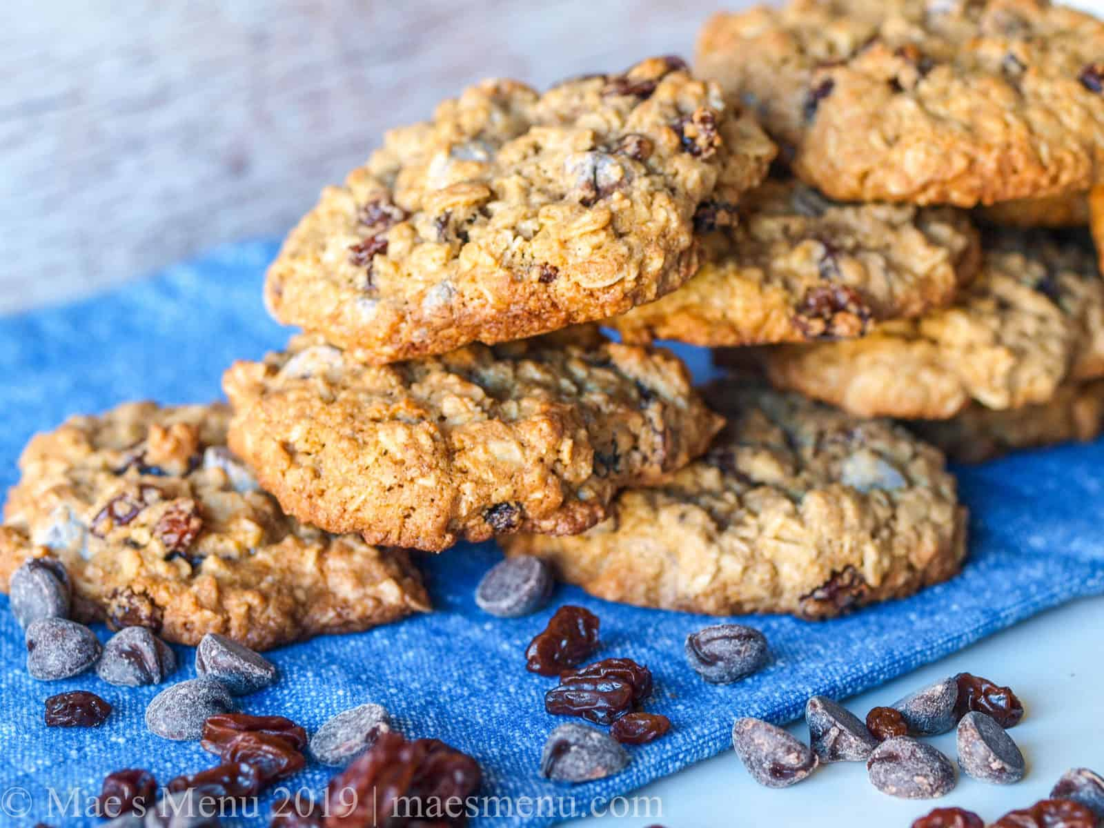 A stack of chewy oatmeal raisin chocolate chip cookies.