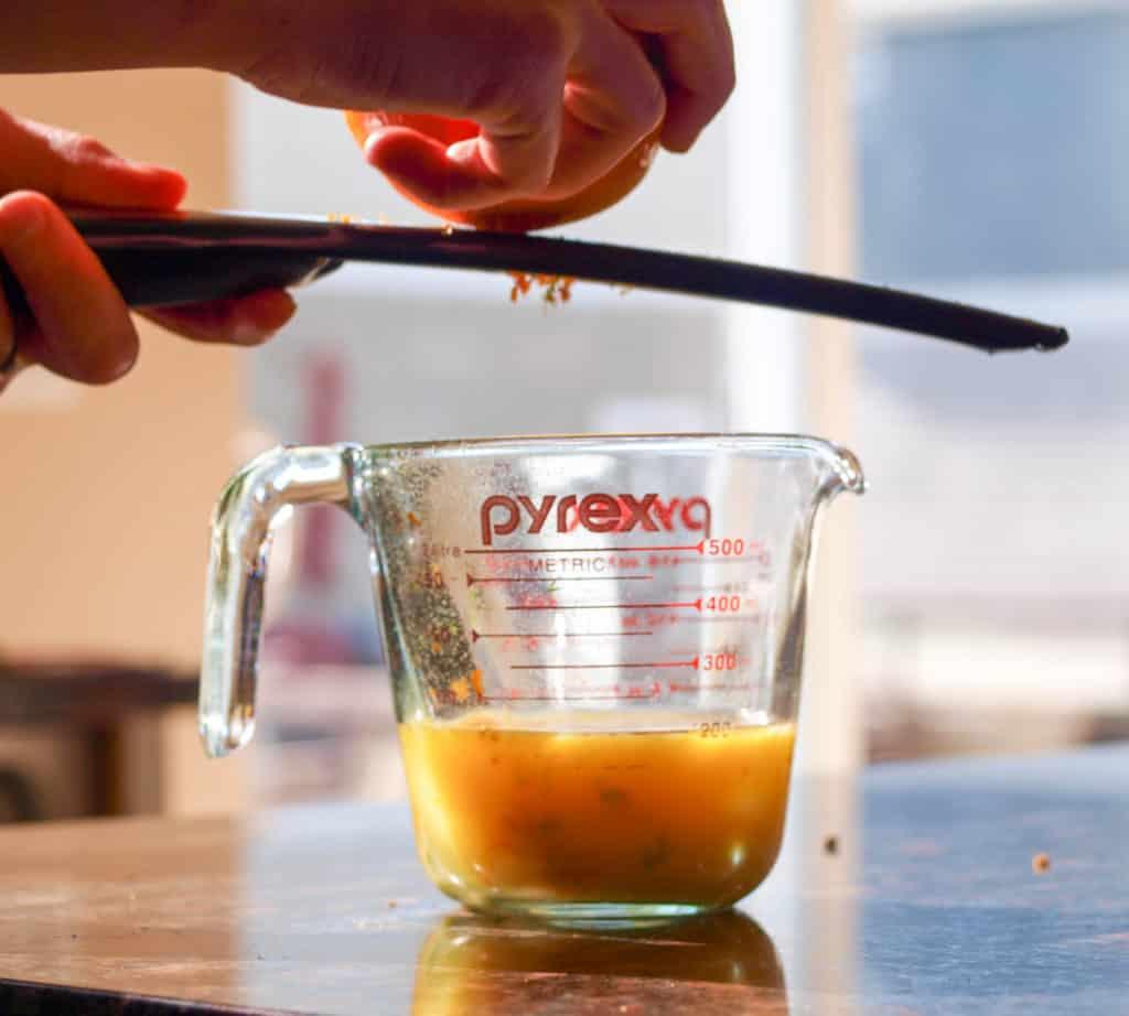 Zesting an orange for the turkey carnitas marinade.