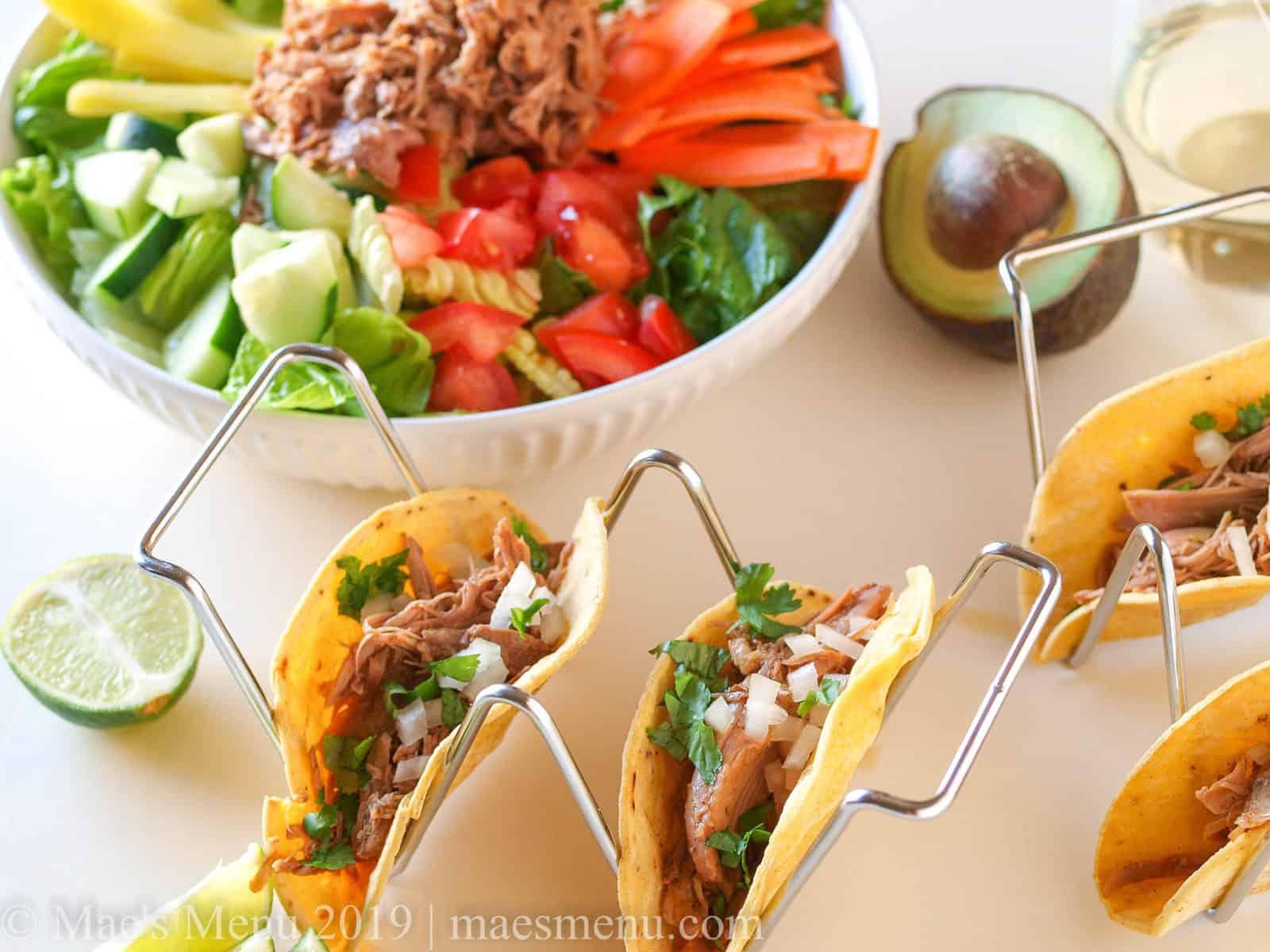 Turkey carnitas tacos and burrito bowls.