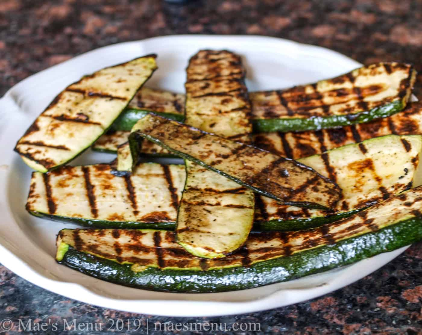 Plate of grilled zucchini.