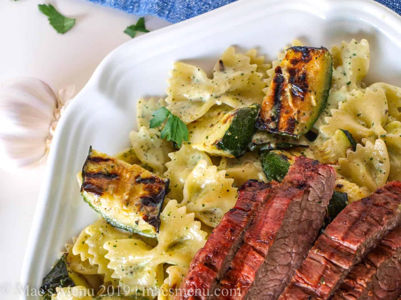 Plate of creamy chimichurri steak pasta.
