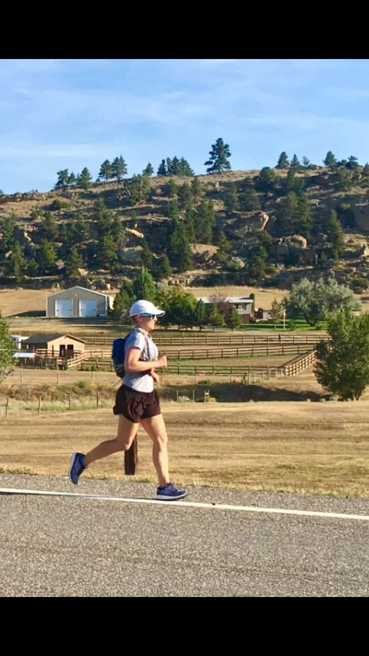 Chelsea Plummer from Mae's Menu running the Montana Marathon