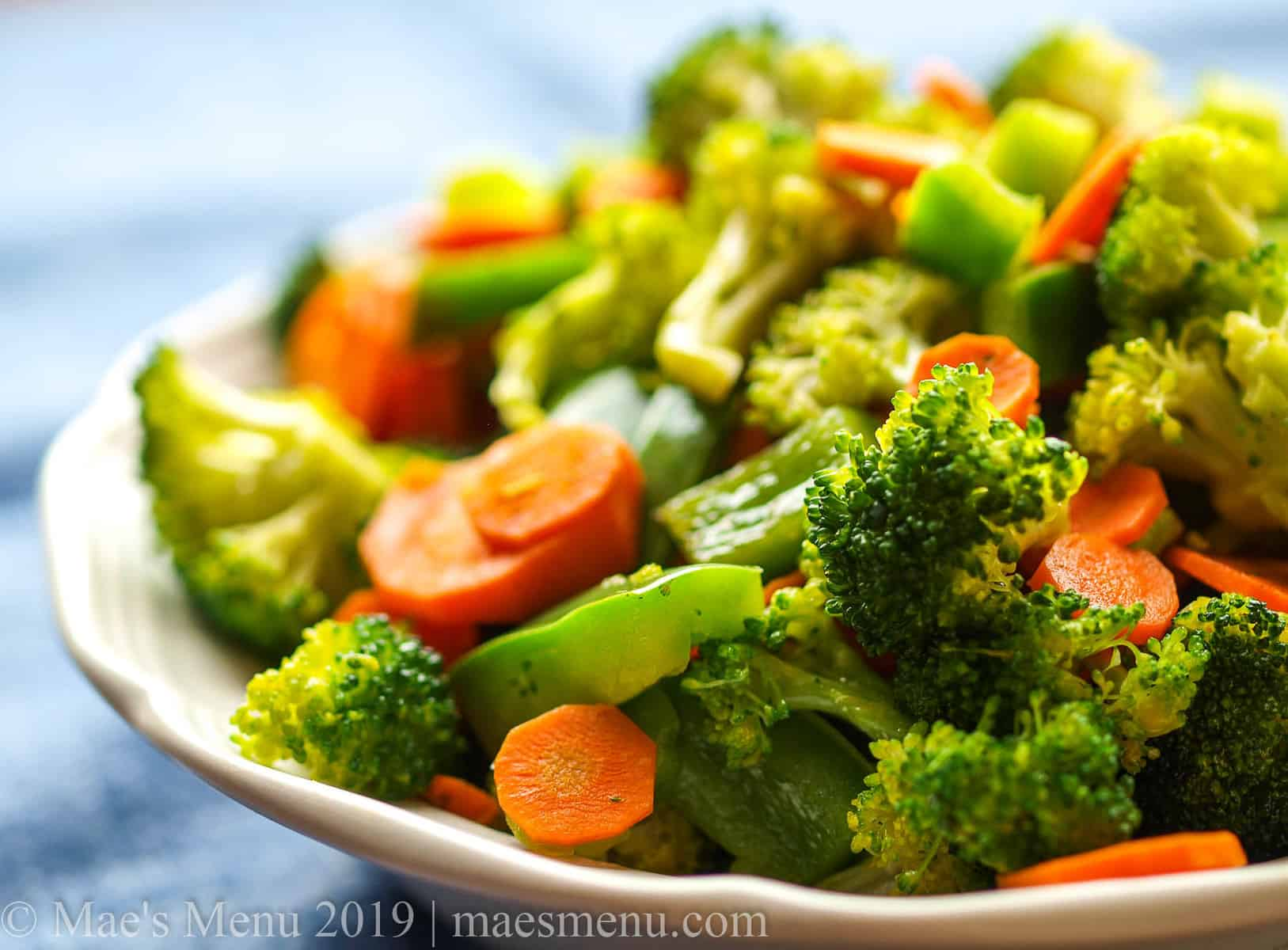 A large bowl of sauteed veggies.