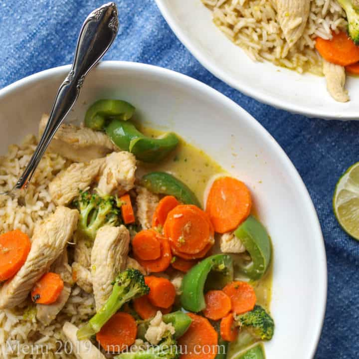 Two bowls of Thai Green Chicken Curry.