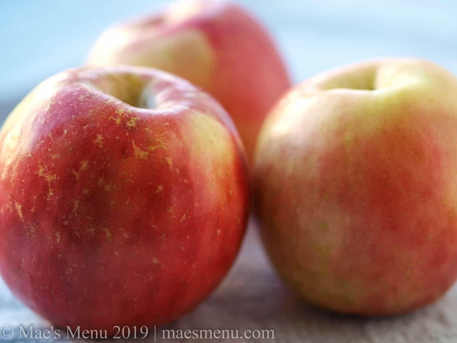 up-close shot of 3 fuji apples.