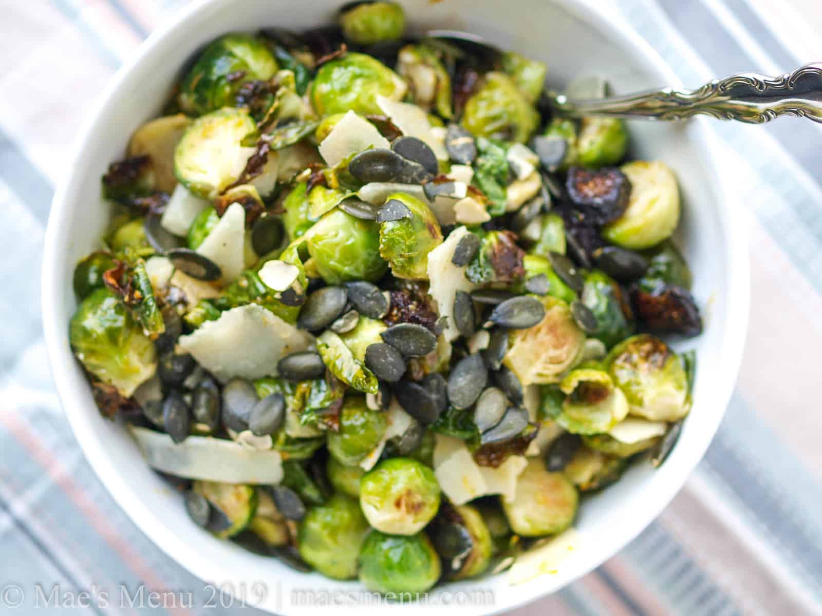 Large serving bowl of healthy roasted brussels sprouts