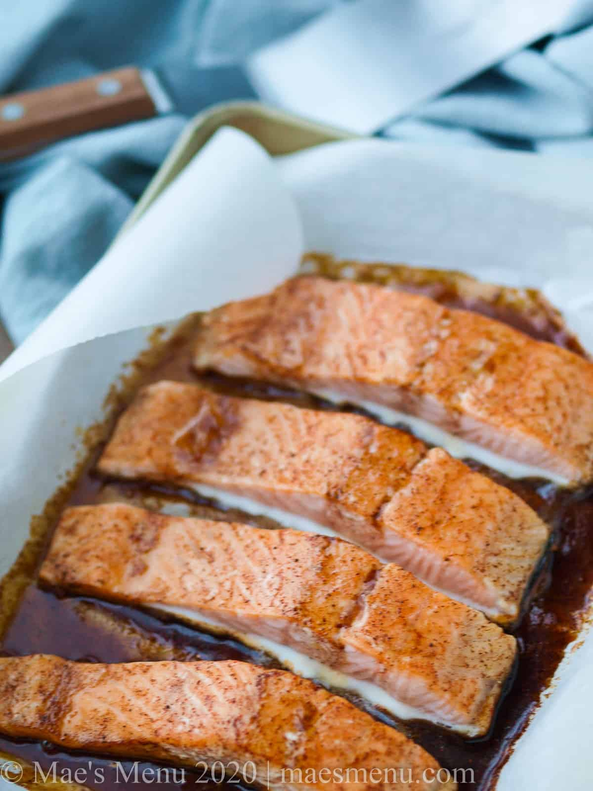 A sheet pan of bourbon glazed salmon.