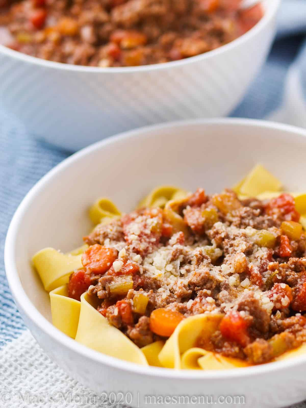 A large bowl of italian beef ragu.