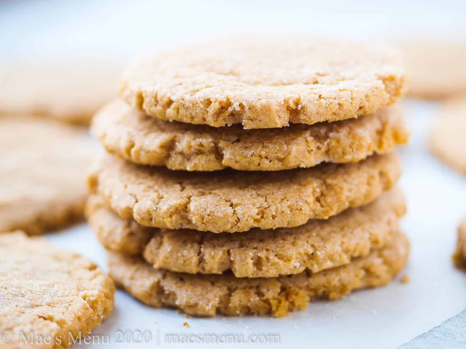 A tall stack of high altitude peanut butter cookies
