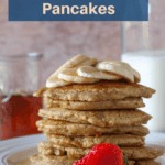 Pinterest pin for oatmeal blender pancakes.