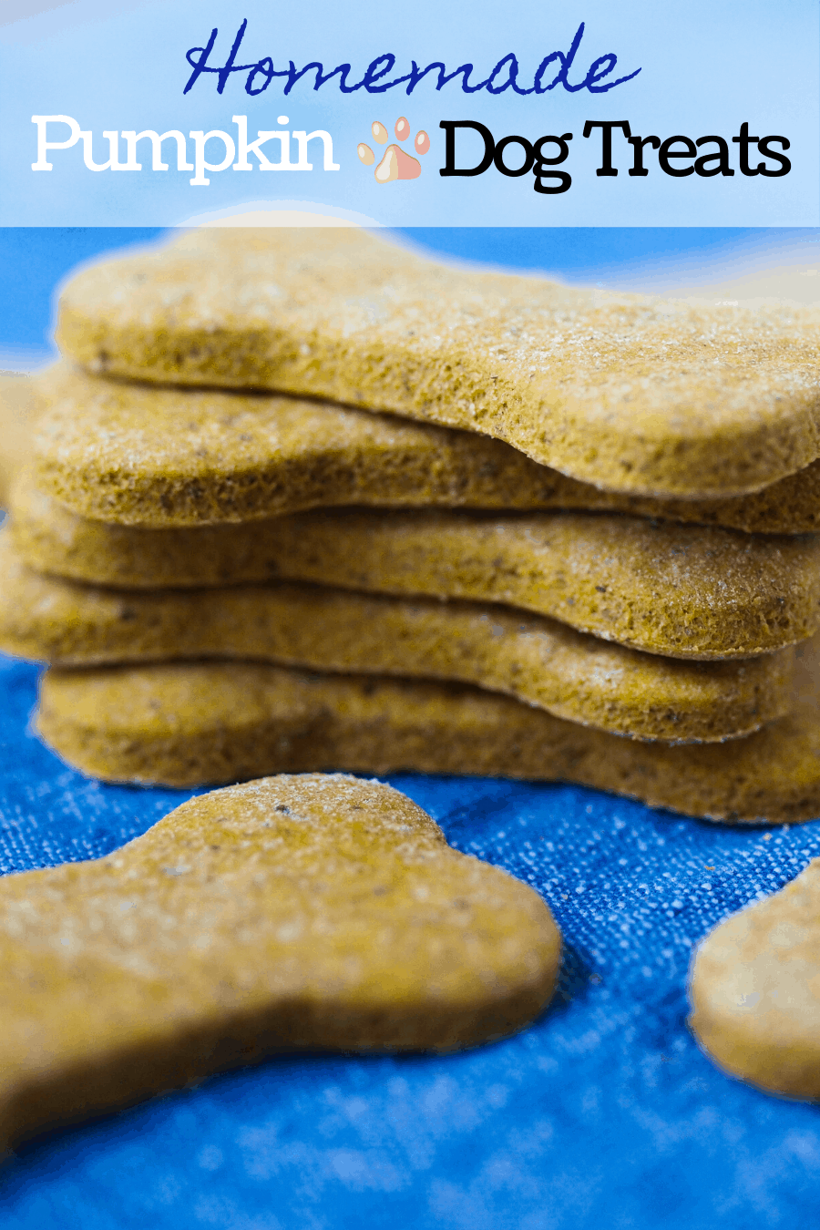 A pinterest pin for peanut butter pumpkin dog treats with a stack of peanut butter pumpkin dog treats.