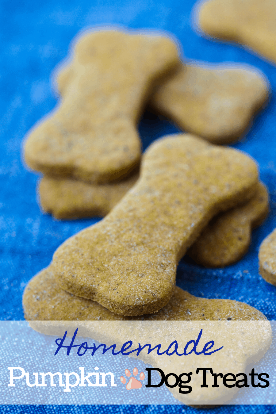 A pinterest pin for Peanut butter pumpkin dog treats stacked on top of one another.