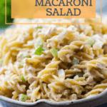 Pinterest pin for Tuna Macaroni Salad