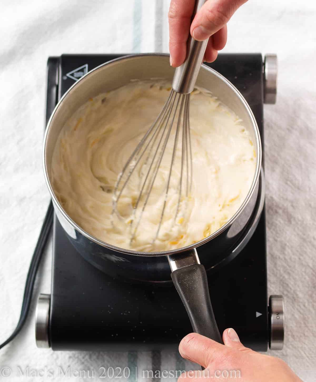 whisking until combined