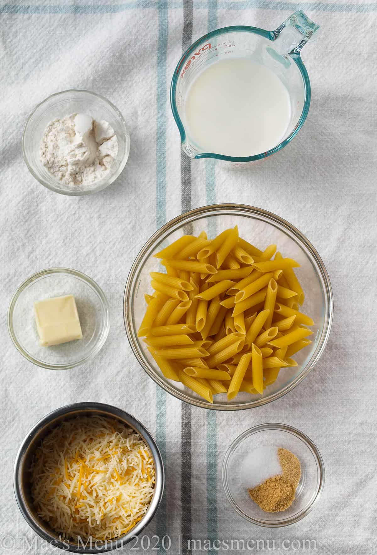 All the ingredients for homemade  healthy macaroni and cheese.