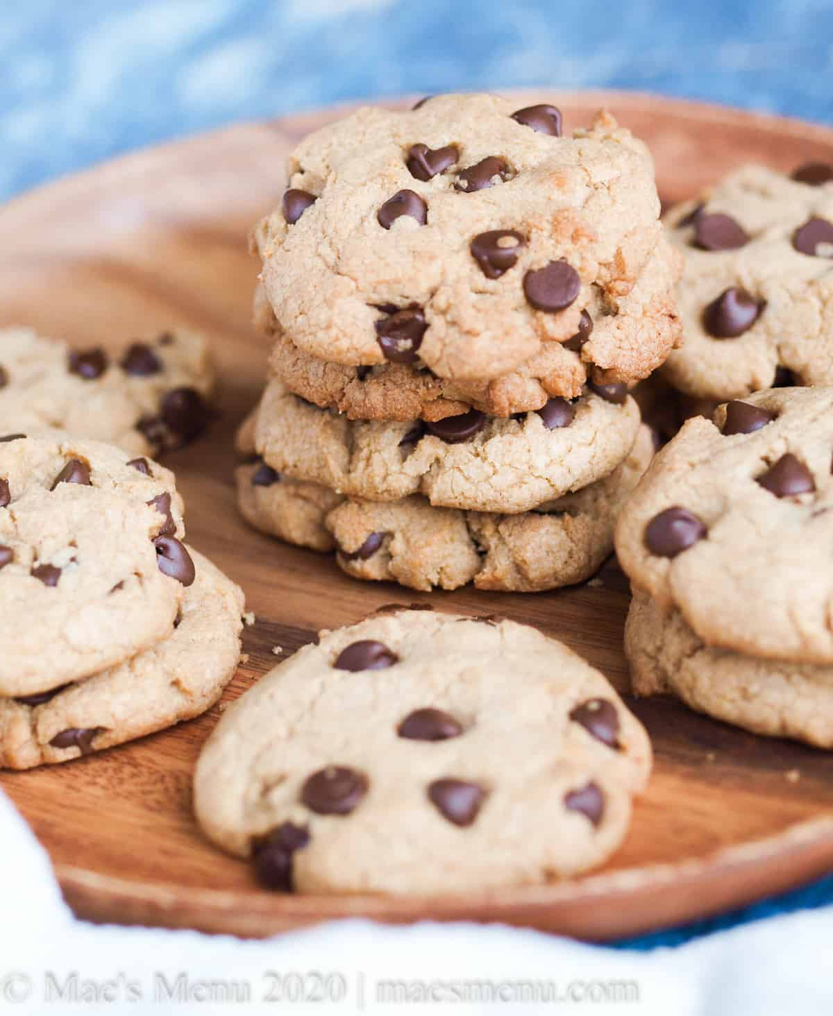 A tray of high altitude chocolate chip cookies