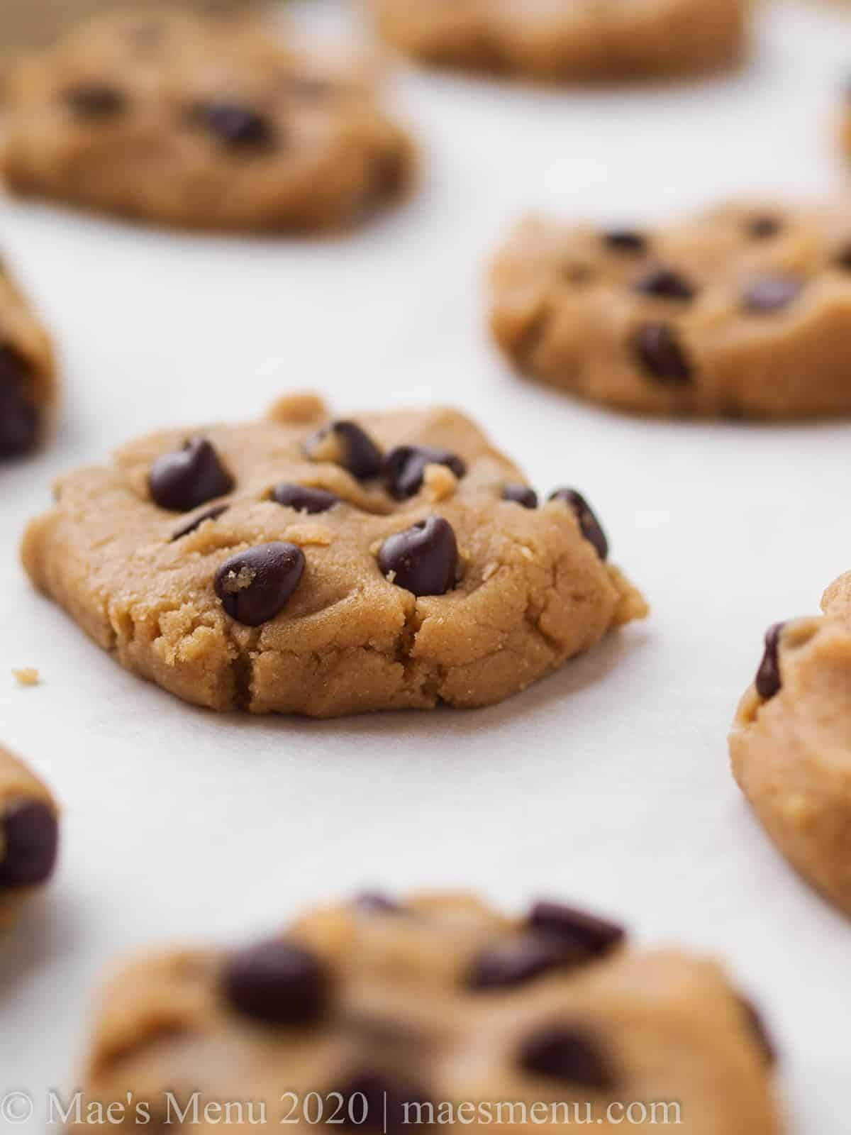 A sheet of high altitude chocolate chip cookies getting ready to go in the oven.