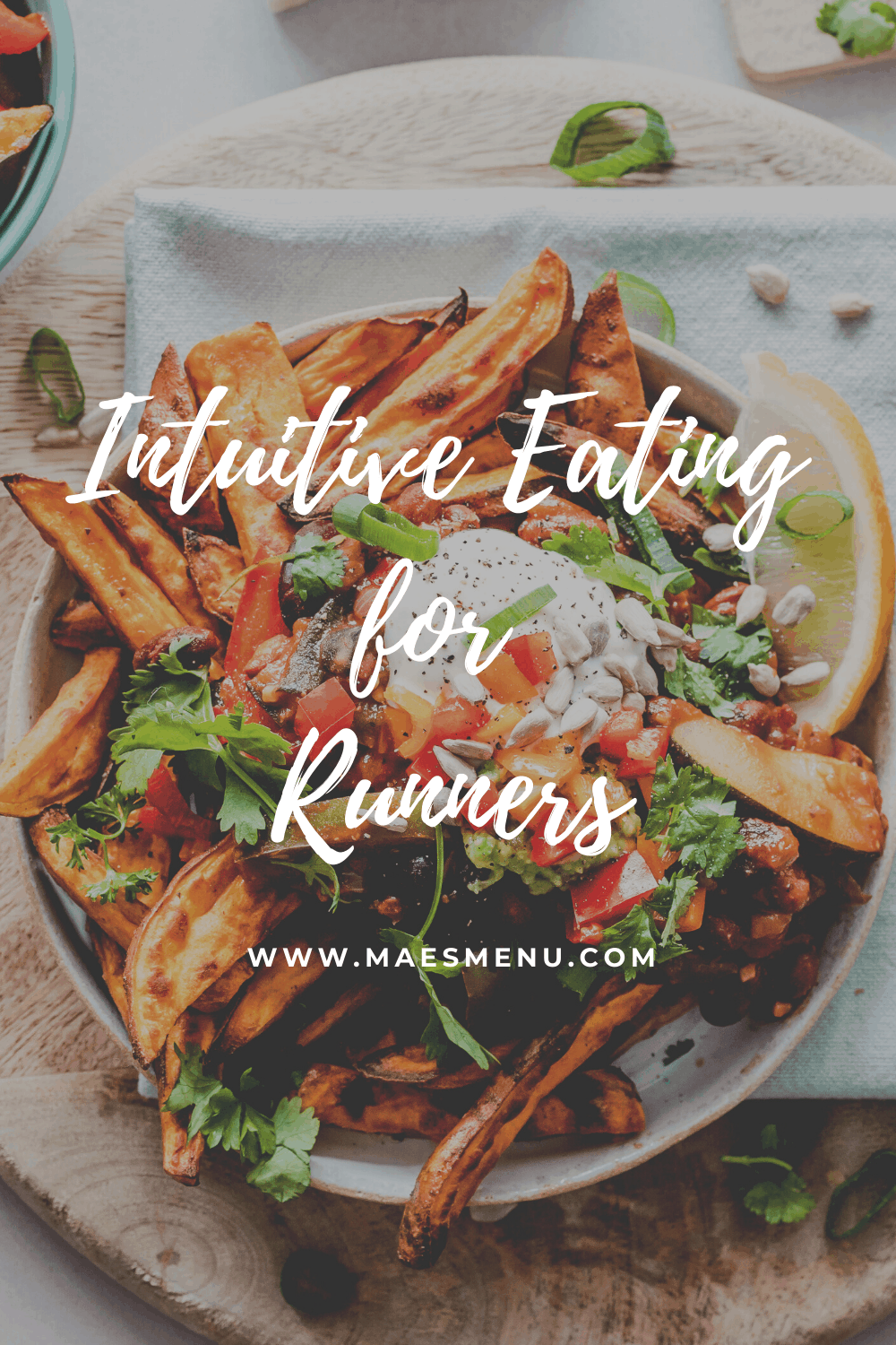 Mae's menu Pinterest pin for intuitive eating for runners.