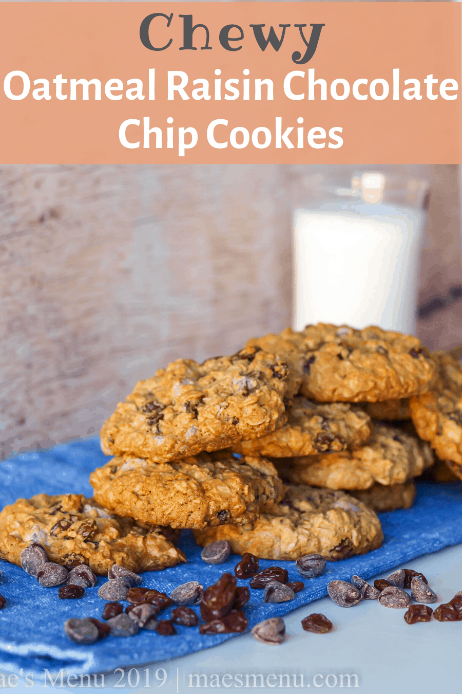 A pinterest pin for oatmeal raisin chocolate chip cookies