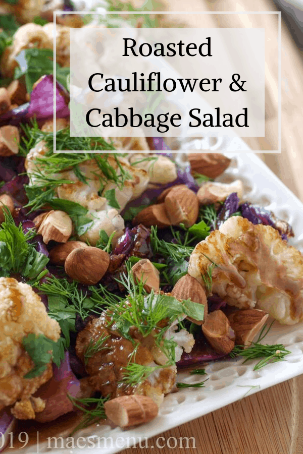 Pinterest pin for roasted cauliflower & cabbage salad