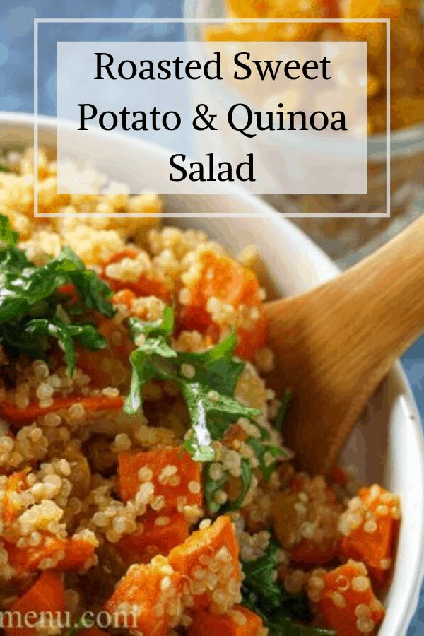 Pinterest pin for roasted sweet potato & quinoa salad