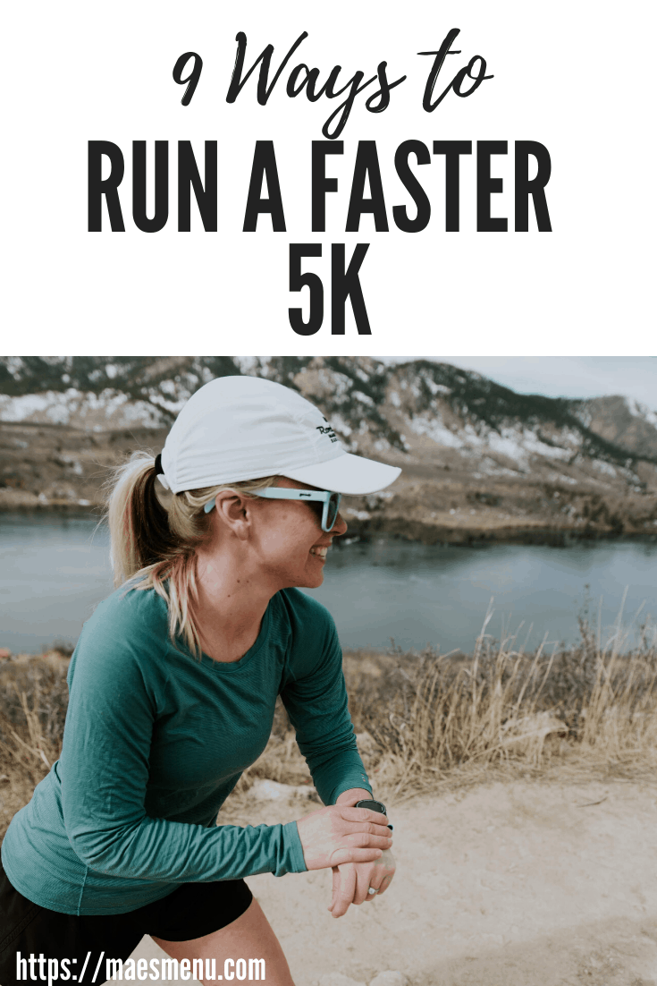"""Chelsea Plummer of Mae's Menu getting ready to start her running watch on her """"9 ways to run a faster 5K"""" pinterest pin."""