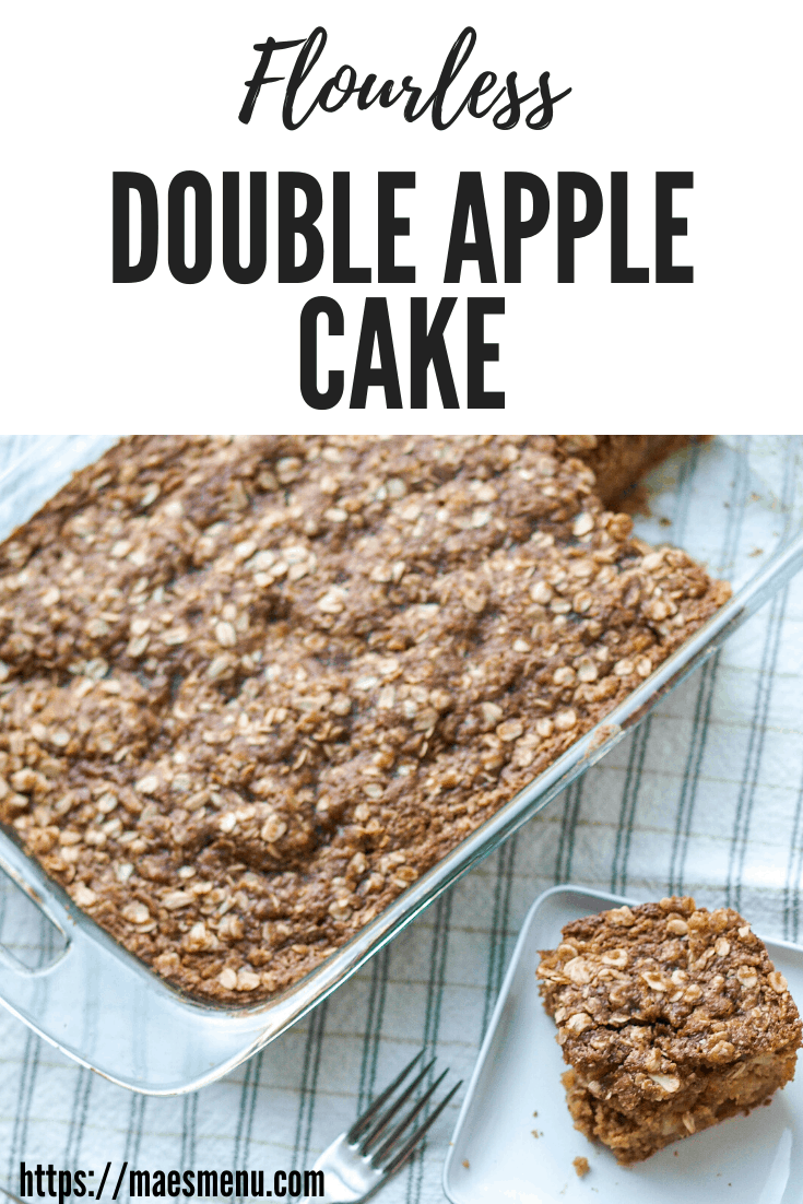 Pinterest pin for flourless double apple cake. The pin shows a tray of cake next to a small piece on a plate.