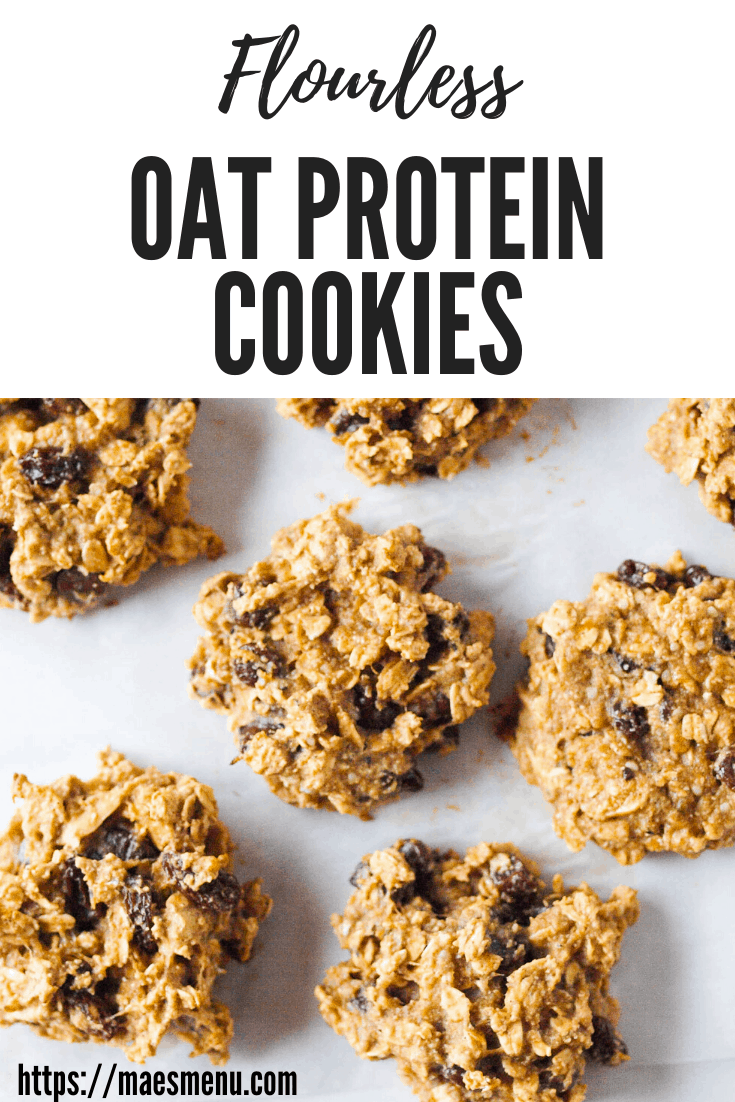 "My pinterest pin for flourless oat protein cookies. It reads ""flourless oat protein cookies"" and has cookies laying on a white background"