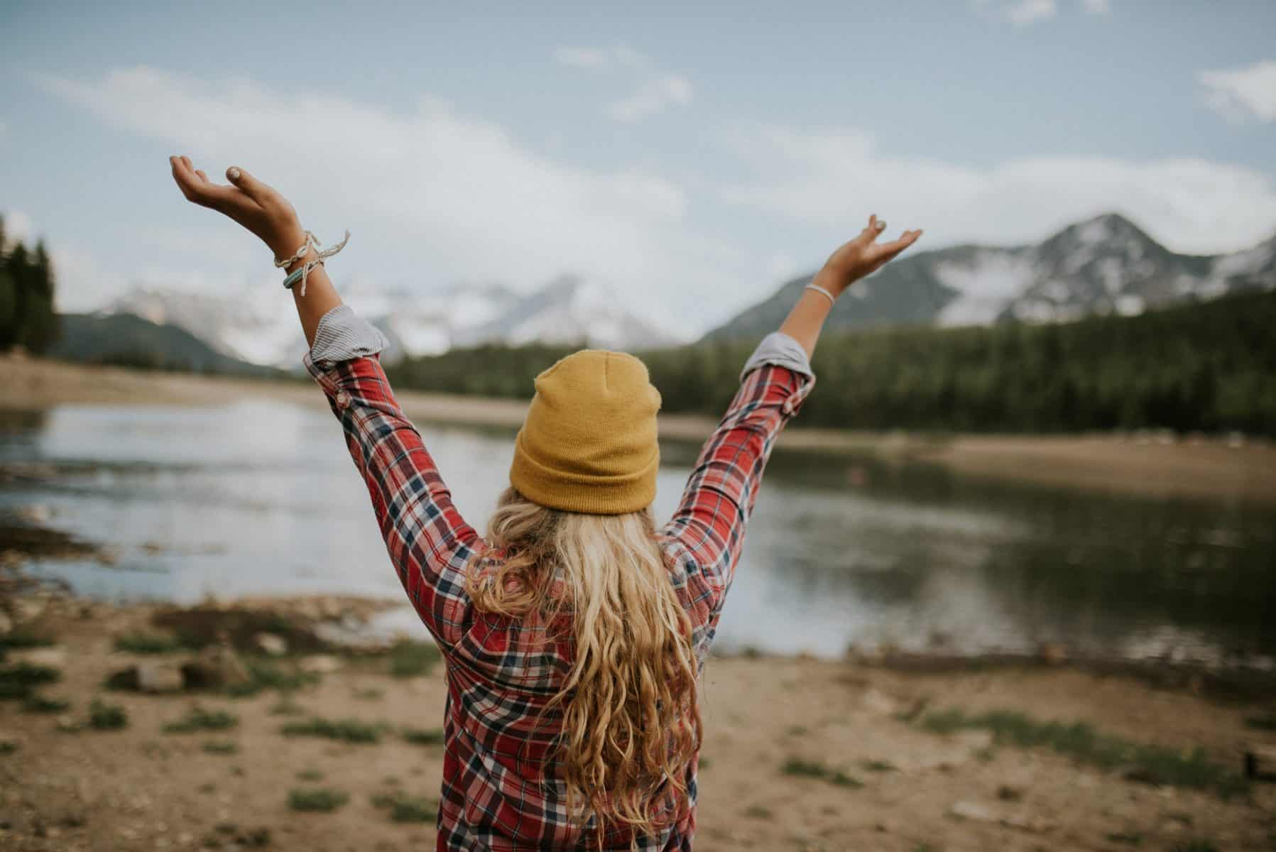 A woman excited to see nature.