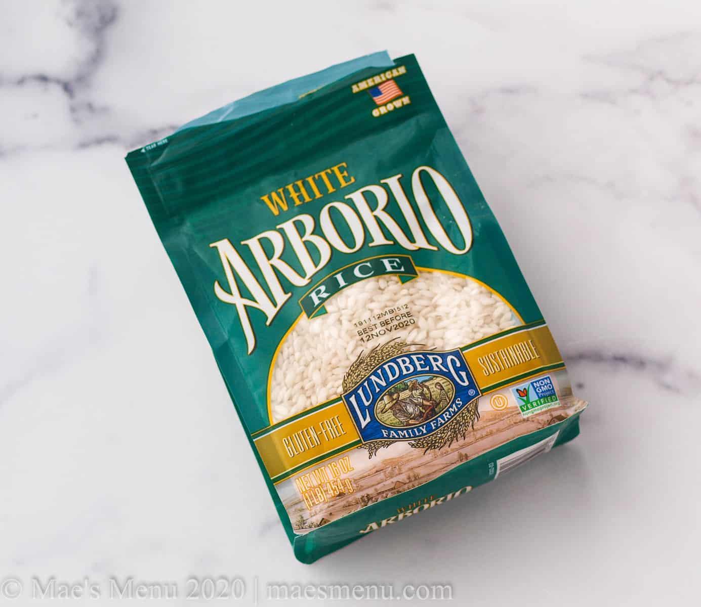 A green bag of Lundberg brand white arborio rice