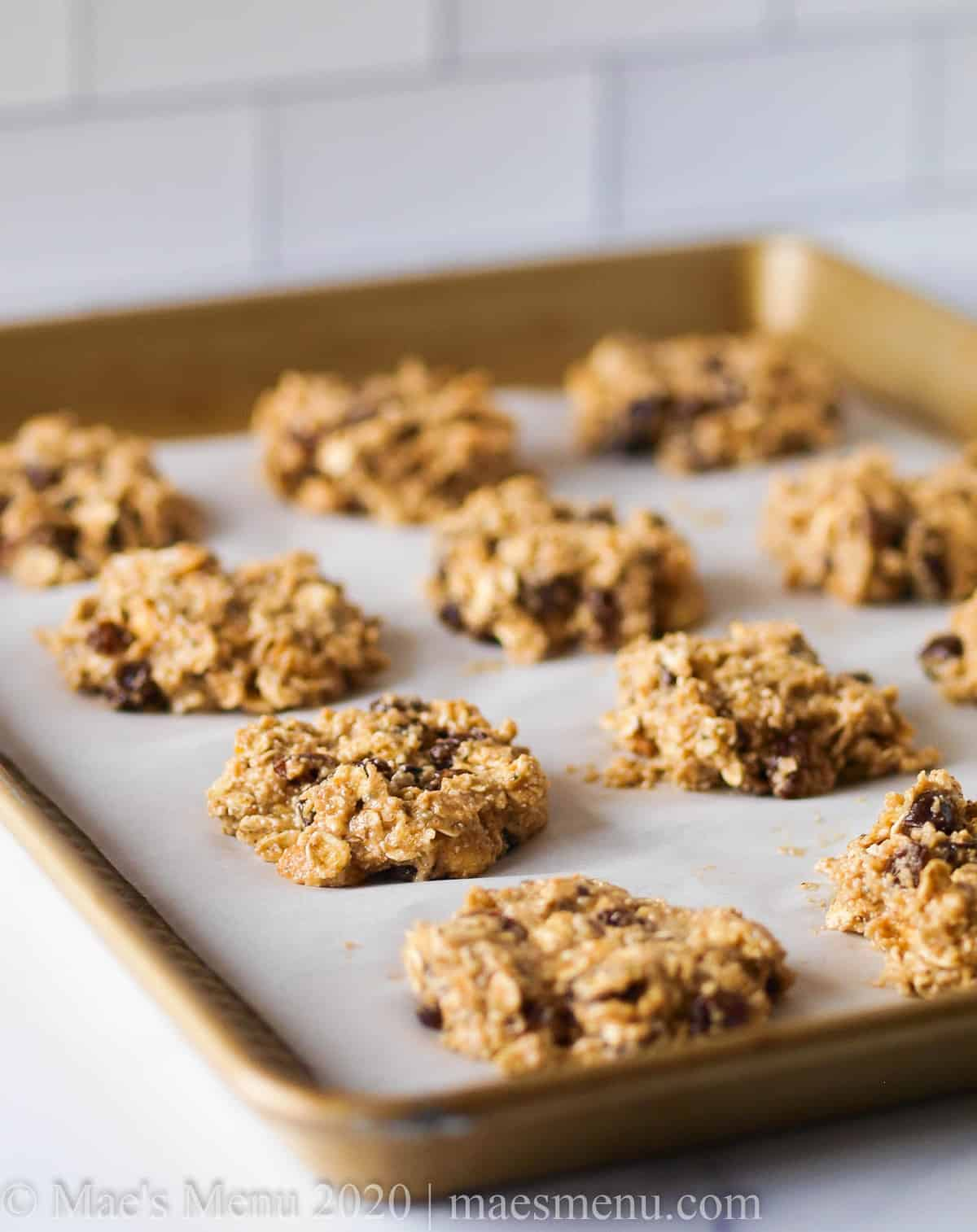 A tray of oat protein cookies on the counter