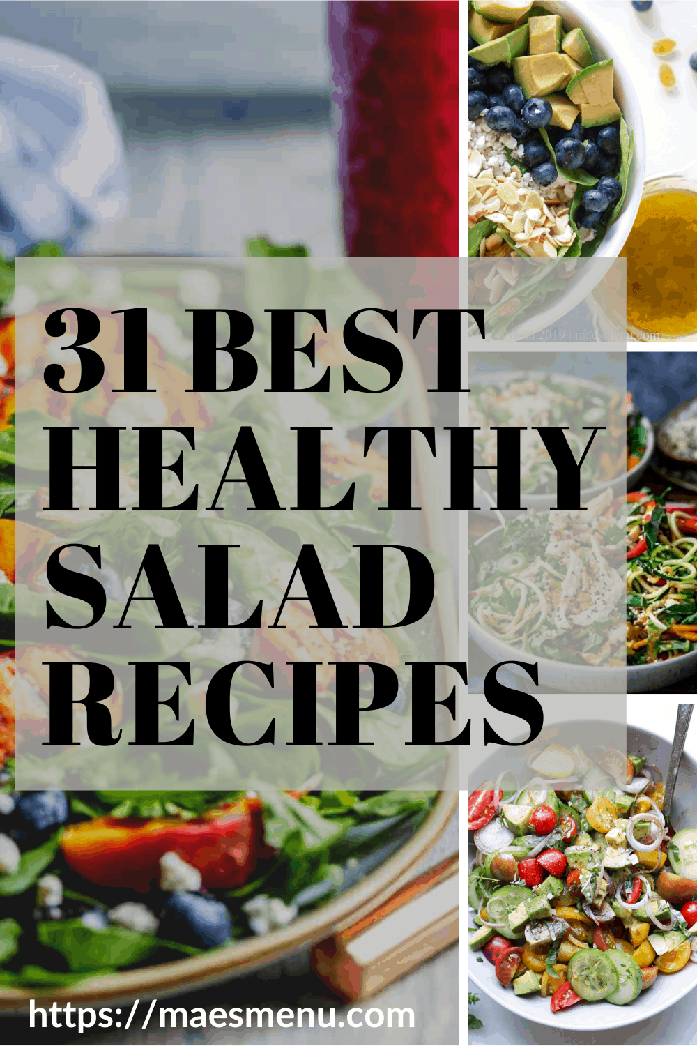 Pinterest pin for 31 best healthy salad recipes.