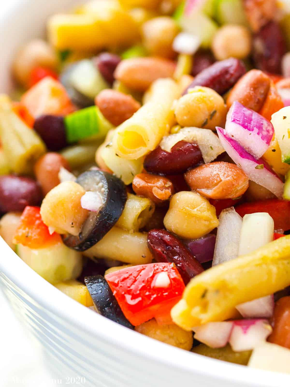 An up-close shot of 5 bean salad.